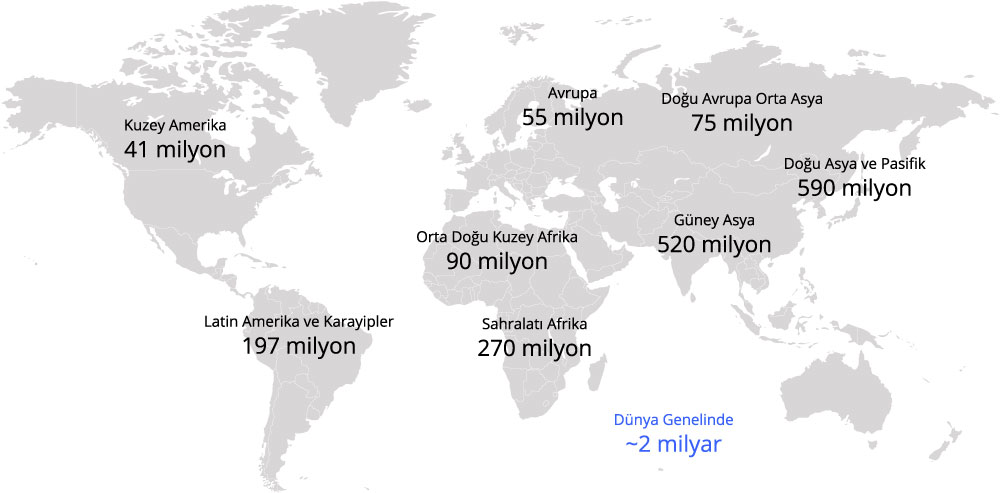 Dünyada yaklaşık 2 milyar yetişkin (15-64) düşük düzeyde sözel becerilere sahiptir.